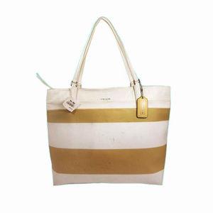 COACH Tan & White Leather Tote Bag$ $198.00